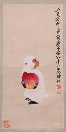 齐白石 白猴显寿 设色纸本 立轴