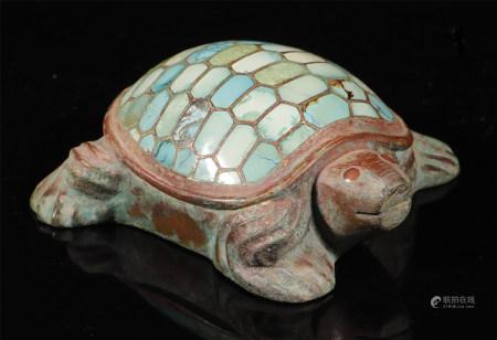 汉代 青铜嵌松石龟镇