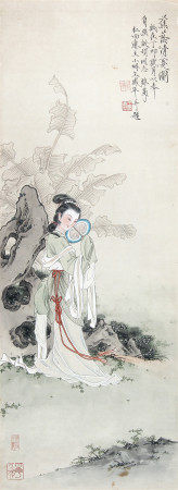 王凤年 蕉荫清夏图1987年作