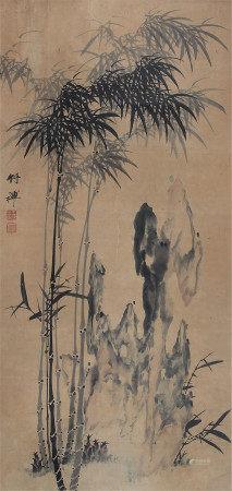 竹禅 竹石图