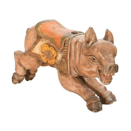 Painted Wood Carousel Pig.