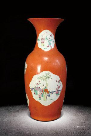 清  珊瑚紅開光粉人物紋瓶