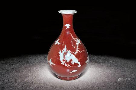 明  紅釉留白雲龍紋玉壺春瓶