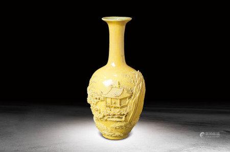 清  黃釉瓷雕山水紋瓶