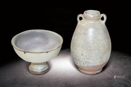 民國  白釉碗、小瓶一組两件