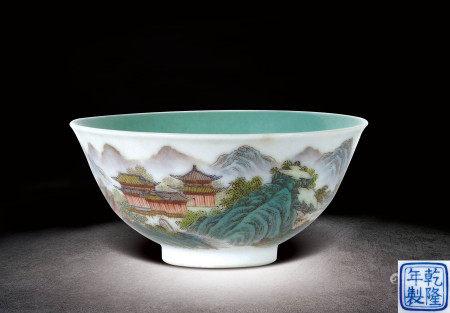 民國  粉彩山水紋碗 (乾隆年製)款
