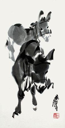 黄胄  双驢