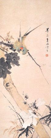 朱偁  雀躍秋枝上