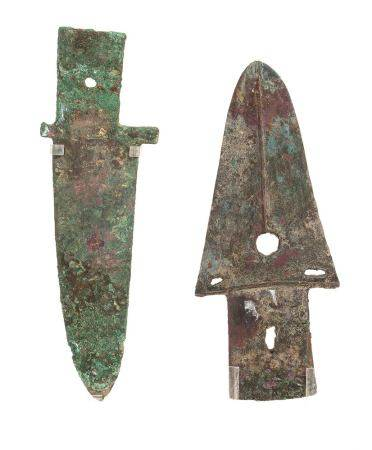 TWO BRONZE BLADES, GE China, late Shang–early