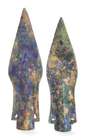 TWO BRONZE WITH AZURITE SPEARS POINTS, MAO