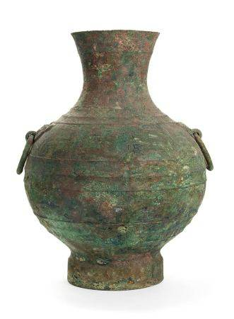 A CHINESE HAN DYNASTY LARGE RITUAL BRONZE WINE