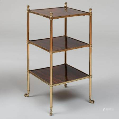 Brass and Rosewood Three Tier Étagère