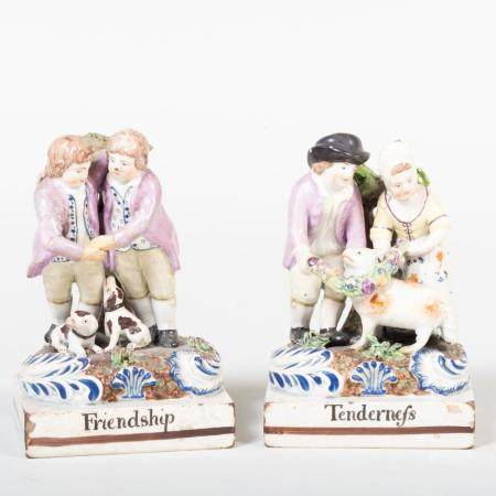 Pair of Staffordshire Pottery Figural Groups 'Friendship' an