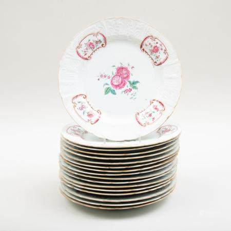 Set of Seventeen Chinese Export Famille Rose Porcelain Plate