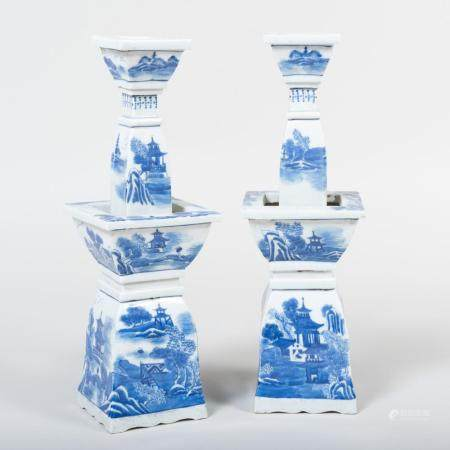 Pair of Chinese Blue and White Porcelain Tapering Candlestic