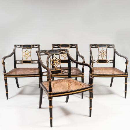Set of Four Regency Ebonized, Parcel-Gilt and Caned Armchair