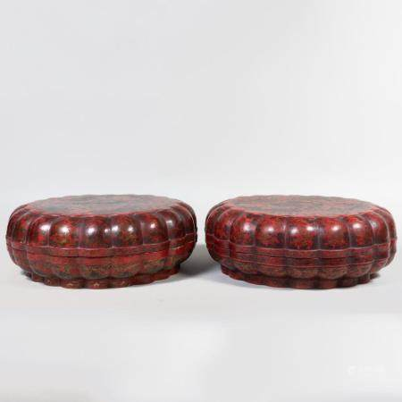 Pair of Large Chinese Red Lacquer and Parcel-Gilt Lobed Boxe
