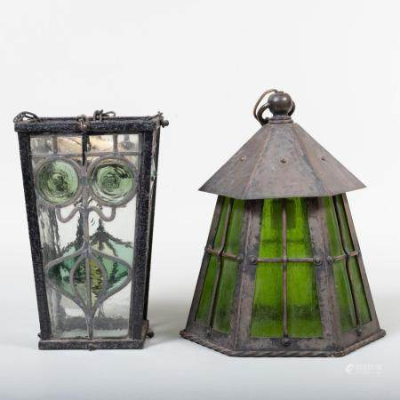 Two Arts and Crafts Style Metal and Stained Glass Lanterns