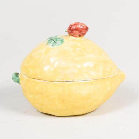 Continental Faience Lemon Form Box and Cover