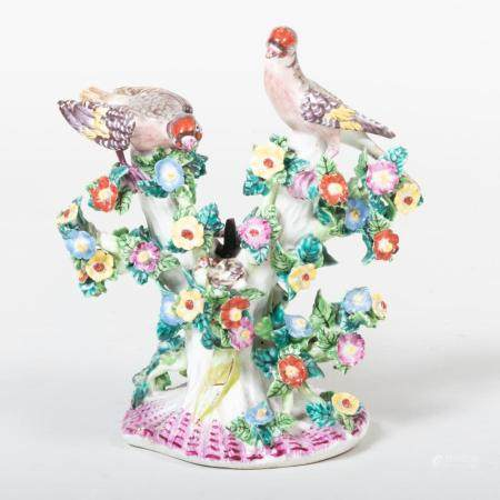 Bow Porcelain Candlestick Group of Birds