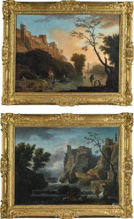STUDIO OF CLAUDE-JOSEPH VERNET | CAPRICCIO VIEW OF NAPLES, WITH WASHERWOMEN AND FISHERMEN IN THE FOREGROUND; AND A CAPRICCIO VIEW OF THE TEMPLE OF THE SYBIL IN TIVOLI, WITH A WATERFALL AND A SHEPHERD WITH HIS FLOCK IN THE FOREGROUND