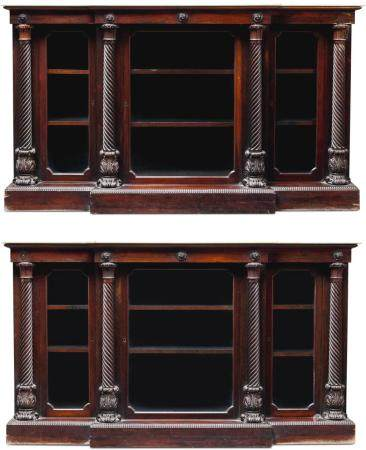 A PAIR OF IRISH WILLIAM IV ROSEWOOD SIDE CABINETS, CIRCA 1825, ATTRIBUTED TO MACK, WILLIAMS & GIBTON