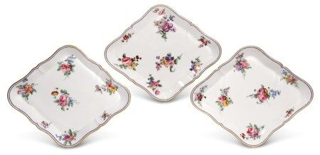 A PAIR OF SEVRES LOZENGE-SHAPED TRAYS AND ANOTHER SIMILAR
