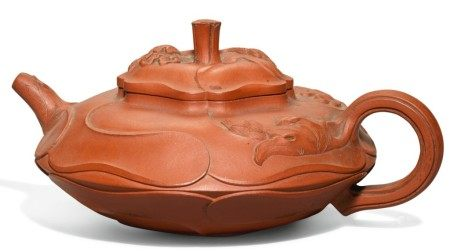 A 'YIXING' 'LOTUS LEAF' TEAPOT AND COVER