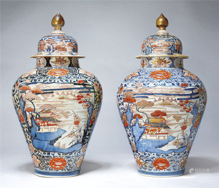 A VERY LARGE PAIR OF JAPANESE ARITAWARE JARS AND COVERS