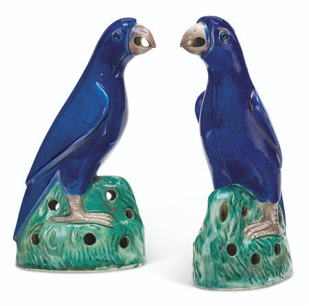 A PAIR OF BLUE-GLAZED PARROTS