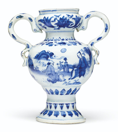 A RARE BLUE AND WHITE TWO-HANDLED VASE