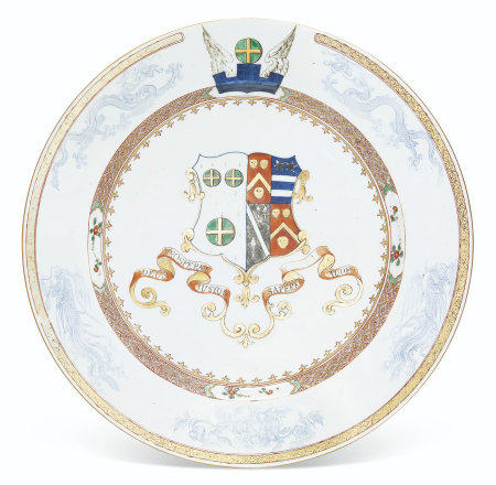A LARGE ENGLISH MARKET ARMORIAL DISH