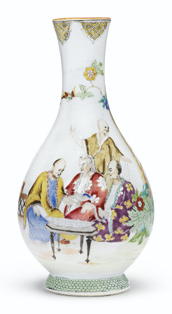 A FAMILLE ROSE 'PRONK DOCTORS' BOTTLE VASE