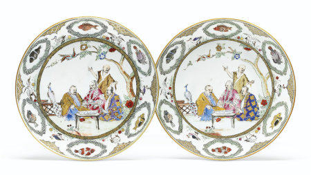 A PAIR OF FAMILLE ROSE 'PRONK DOCTORS' SAUCER DISHES