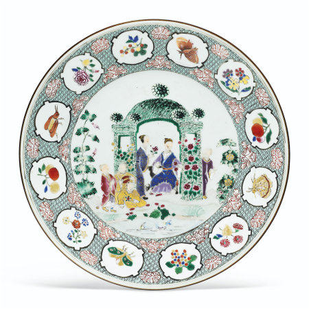 A FAMILLE ROSE 'PRONK ARBOR' LARGE PLATE