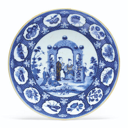 A BLUE AND WHITE 'PRONK ARBOR' SAUCER DISH