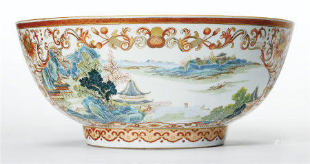 A VERY UNUSUAL FAMILLE ROSE, IRON-RED AND GILT PUNCHBOWL
