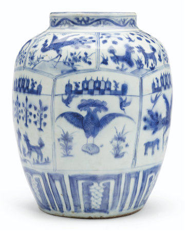 A RARE EARLY MEXICAN MARKET BLUE AND WHITE JAR