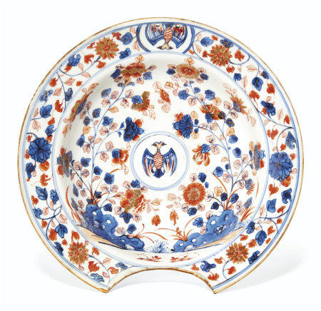 A MEXICAN MARKET CHINESE IMARI BARBER'S BASIN