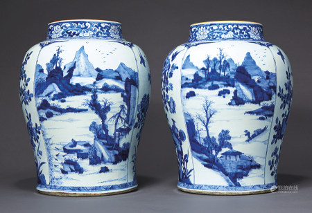 A LARGE PAIR OF BLUE AND WHITE JARS
