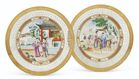A PAIR OF 'ROCKEFELLER PATTERN' RETICULATED PLATES