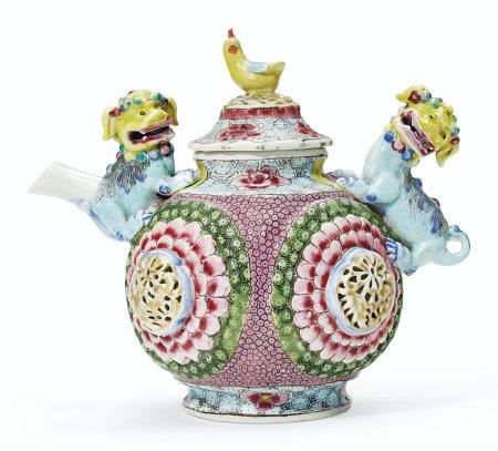 A FAMILLE ROSE BUDDHIST LION TEAPOT AND COVER
