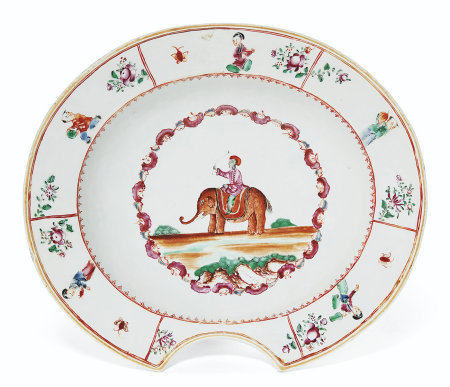 A RARE INDIAN MARKET FAMILLE ROSE BARBER'S BASIN