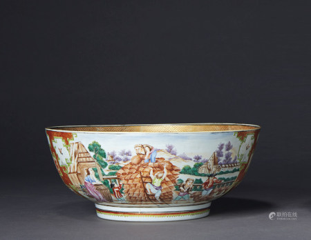 A RARE FAMILLE ROSE 'HARVEST' BOWL