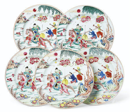 A SET OF FIVE ROSE-VERTE EQUESTRIAN PLATES