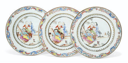 A SET OF THREE FAMILLE ROSE EUROPEAN SUBJECT PLATES
