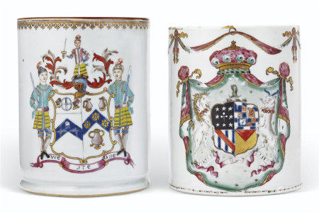 TWO ENGLISH MARKET ARMORIAL MUGS