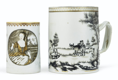 TWO GRISAILLE AND GILT EUROPEAN SUBJECT MUGS
