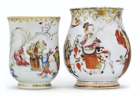 TWO FAMILLE ROSE BELL-SHAPED MUGS