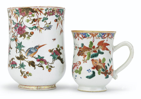 TWO FAMILLE ROSE MUGS